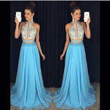 Blue Two Pieces Halter Beaded Unique Long Prom Dresses, PM0109 - Prom Muse
