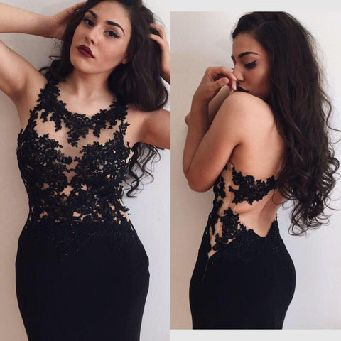 Black Sexy Seen Through Open Back Mermaid Prom Dresses, PM0010