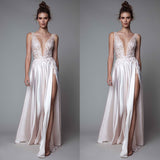 Blush Pink Deep V Neck Split See Through Long Prom Dresses, PM0110