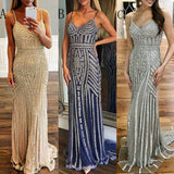 Most Popular Sparkle Charming Spaghetti Strap Evening Long Prom Dresses, PM1064 - Prom Muse