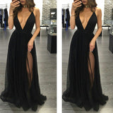 Simple Black Sexy Deep V Neck Cheap Long Prom Dresses, PM0111