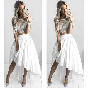 2 Pieces White Lace Hi Lo Beach Long Prom Dresses, PM0112 - Prom Muse