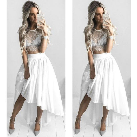 2 Pieces White Lace Hi Lo Beach Long Prom Dresses, PM0112