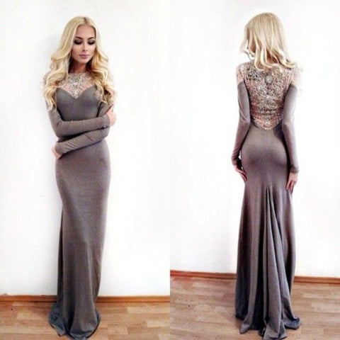 Affordable Grey Long Sleeves Mermaid Long Prom Dresses, PM0113