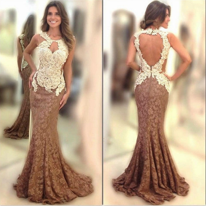 Brown Open Back Ivory Long Mermaid Lace Prom Dress, PM0115 - Prom Muse