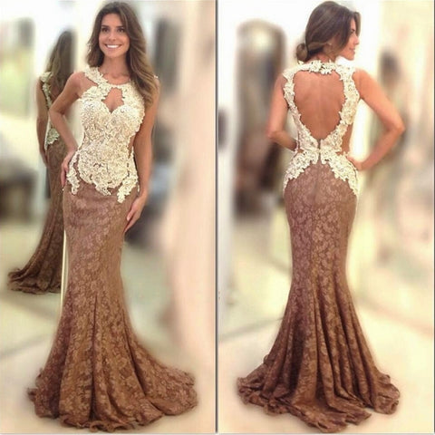 Brown Open Back Ivory Long Mermaid Lace Prom Dress, PM0115