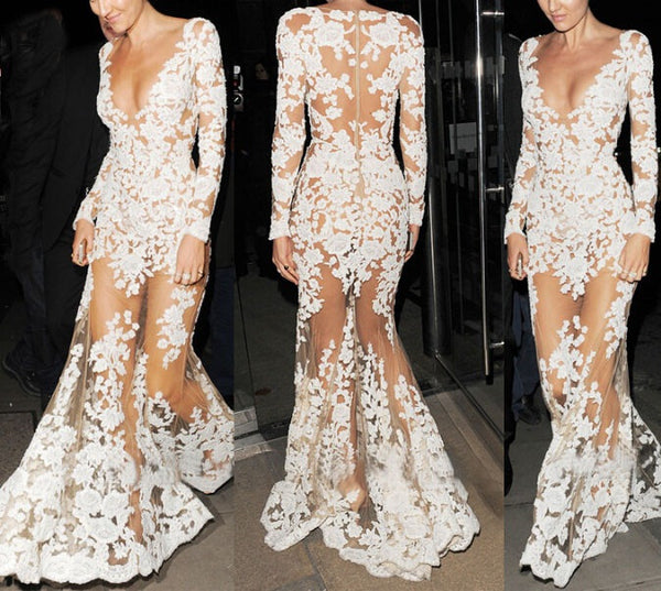 White Long Sleeves See Through Lace Sexy Long Prom Dresses, PM0117