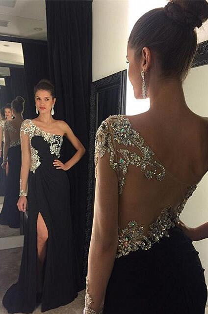 Black One Shoulder Side Split Cheap Long Evening Prom Dresses, PM0119 - Prom Muse