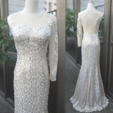 Ivory One Shoulder Mermaid Long Sequin Evening Prom Dresses, PM0120