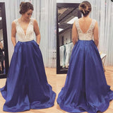 V Neck Formal A Line Beaded Evening Long Prom Dresses, PM0121