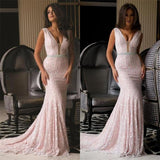 Elegant Pink V Neck Mermaid Long Lace Prom Dresses, PM0122 - Prom Muse