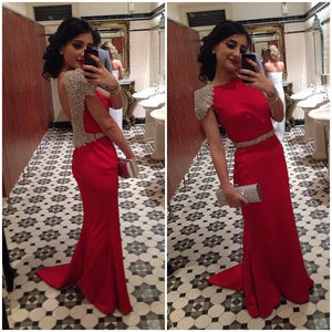 Cap Sleeve Red Backless Long Cheap Teenage Prom Dresses, PM0123 - Prom Muse