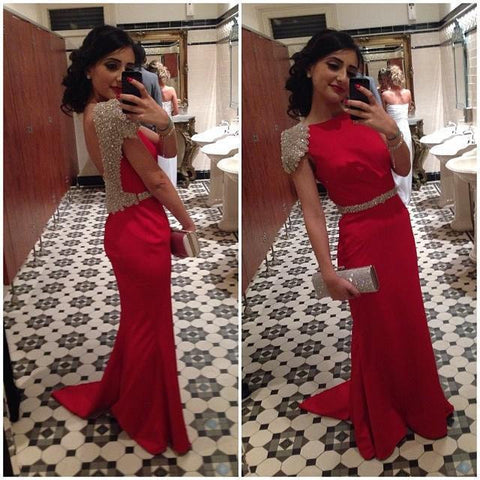 Cap Sleeve Red Backless Long Cheap Teenage Prom Dresses, PM0123