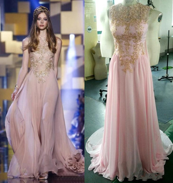 Pink Gold Applique Formal A Line Long Prom Dresses, PM0124 - Prom Muse