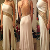 White One Shoulder Seen Through Side Split Long Prom Dresses, PM0125