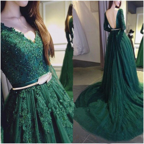 Dark Green Long Sleeves Backless Applique Long Prom Dresses, PM0126