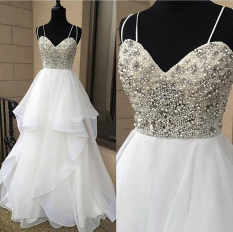 Beaded Sweetheart White Long Teenage Prom Dresses, PM0128