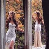 Sweetheart Sparkle Heavy Beaded Side Slit Gorgeous Long Prom Dress, PM0012