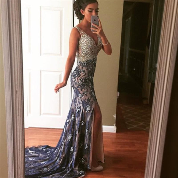 Elegant V Neck Beaded Side Slit Mermaid Long Prom Dresses, PM0130 - Prom Muse