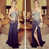 Sweetheart Side Slit Sparkle Beaded Long Prom Evening Dresses, PM0131