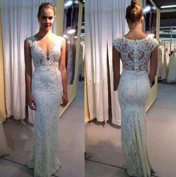 Ivory V Neck Mermaid Long Lace Prom Dresses, PM0132 - Prom Muse