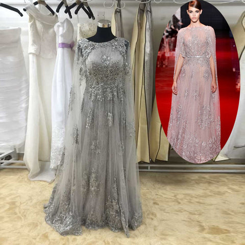 Grey Unique Applique Tulle Gorgeous Evening Party Prom Dresses, PM0136