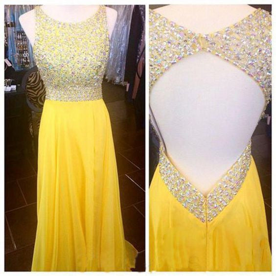 Yellow Beaded Top Open Back Formal Long Prom Party Dresses, PM0137