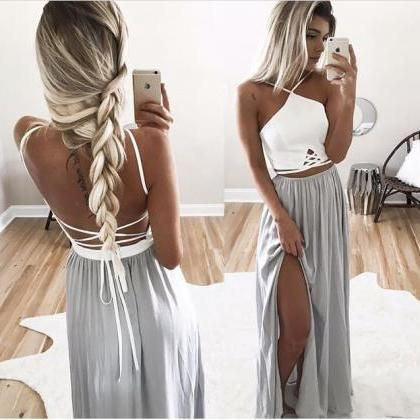 Two Pieces White Silver Beach Backless Long Prom Dresses, PM0138