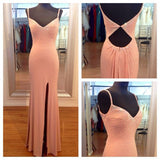 Cheap Peach Open Back Side Slit Long Prom Dresses, PM0139