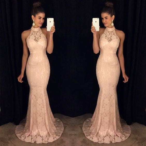 Halter Peach Long Mermaid Cheap Lace Prom Dress, PM0013 - Prom Muse