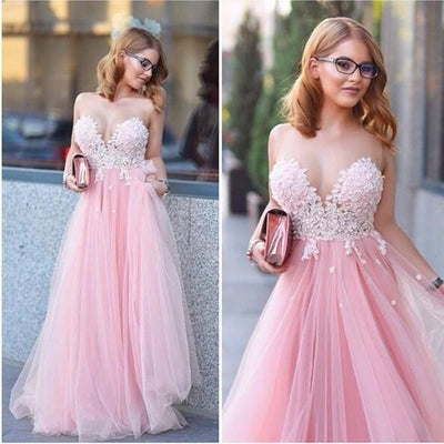Pink Teenage Lovely Tulle Long Prom Party Dresses, PM0141