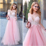 Pink Teenage Lovely Tulle Long Prom Party Dresses, PM0141 - Prom Muse