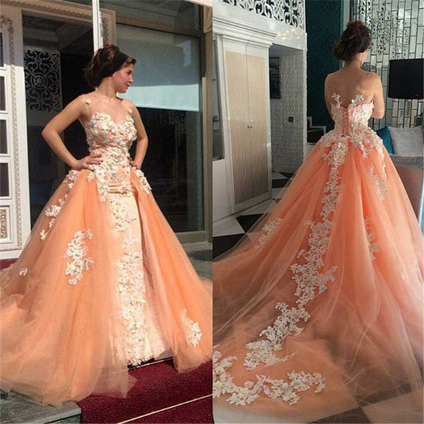 Gorgeous Peach Unique Applique Long Prom Dresses Ball Gown, PM0143 - Prom Muse