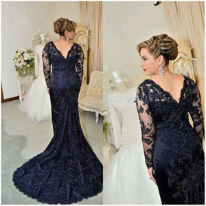 Navy Blue V Neck Fishtail Long Sleeves Lace Prom Dresses, PM0144 - Prom Muse
