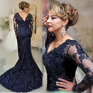 Navy Blue V Neck Fishtail Long Sleeves Lace Prom Dresses, PM0144