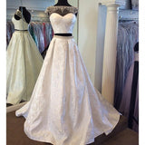 Cap Sleeves 2 Pieces Lace Ivory Long Prom Dresses, PM0145