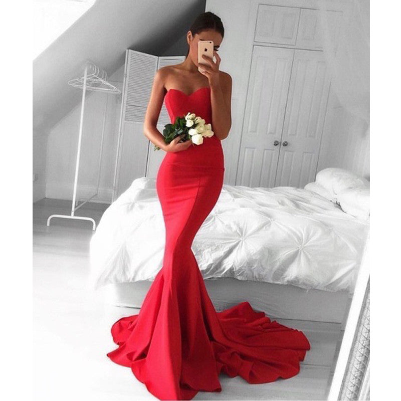 Red Sweetheart Mermaid Cheap Long Bridesmaid Prom Dresses, PM0146