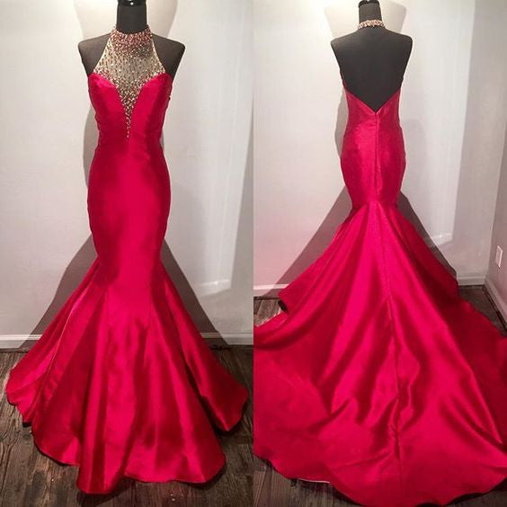 Red Halter Backless Mermaid Fishtail Evening Prom Dresses, PM0147 - Prom Muse