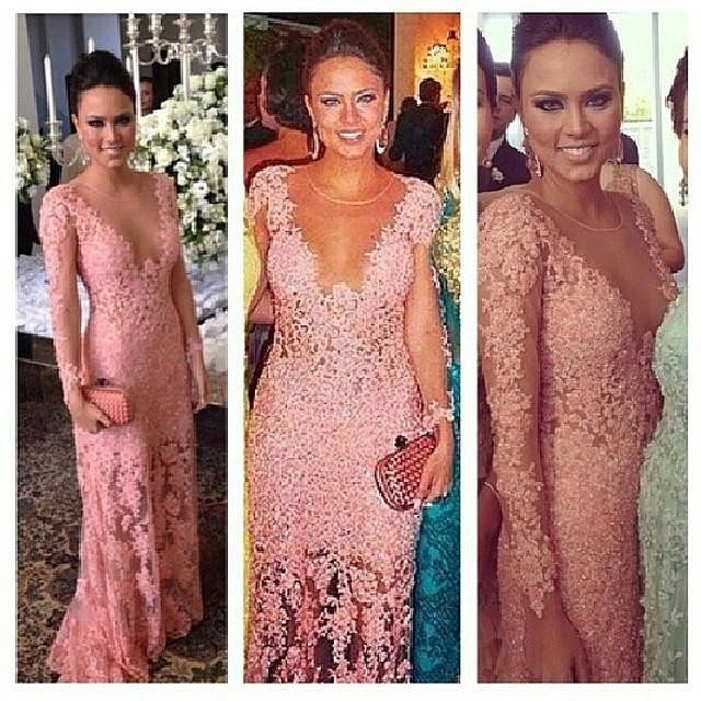 Long Sleeves Lace Sexy Dusty Pink See Through Long Prom Dress, PM0149 - Prom Muse