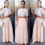 Blush Pink Short Sleeves Two Pieces Unique Long Prom Dresses, PM0014 - Prom Muse