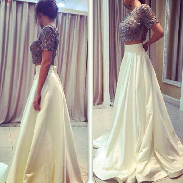 2 Pieces Short Sleeves Beaded Top Ivory Long Prom Dresses, PM0150 - Prom Muse