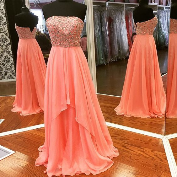 Strapless Beaded Top Chiffon Formal Long Prom Dresses, PM0151
