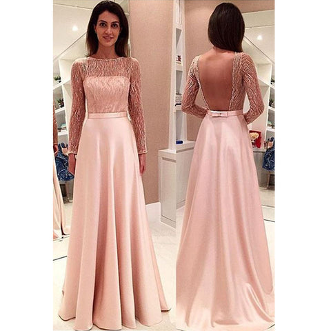 Blush Pink Backless Long Sleeves Lace Cheap Prom Dresses, PM0152