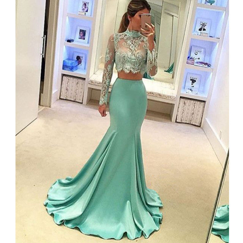 2 Pieces Mermaid Long Sleeves High Neck Lace Fishtail Prom Dresses, PM0153 - Prom Muse