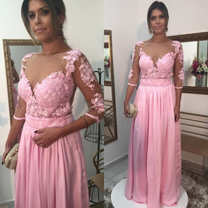 Lace Pink Long Sleeves Applique Cheap Long Prom Dresses, PM0155