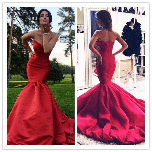 Red Sweetheart Mermaid Fishtail Long Evening Prom Dresses, PM0156