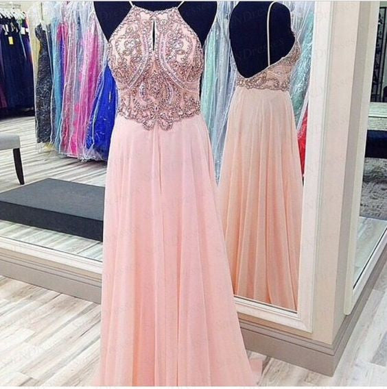 Blush Pink Halter Beaded Top Backless Teenage Long Prom Dresses, PM0157 - Prom Muse