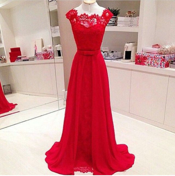 Red Cap Sleeve Formal Cheap Long Lace Prom Dresses, PM0158 - Prom Muse