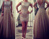2 Pieces Cap Sleeves Beaded Top Unique Long/Short Prom Dresses, PM0159 - Prom Muse