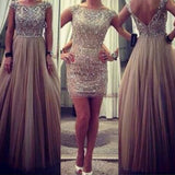 2 Pieces Cap Sleeves Beaded Top Unique Long/Short Prom Dresses, PM0159